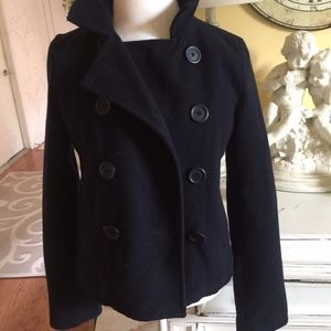 ABERCROMBIE & FITCH  BLACK PEACOAT